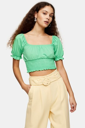 Topshop Womens Green Shirred Waist Puff Top - Green