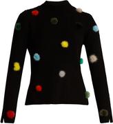 Fendi Fur-pompom high-neck cashmere sweater