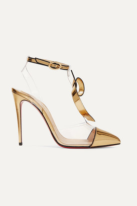 Christian Louboutin Alta Firma 100 Appliqued Pvc And Metallic Leather Pumps - Gold