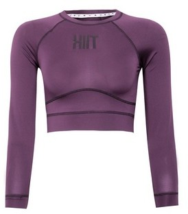 Dorothy Perkins Womens **Hiit Purple Sculpted Long Sleeved Cropped Top, Purple