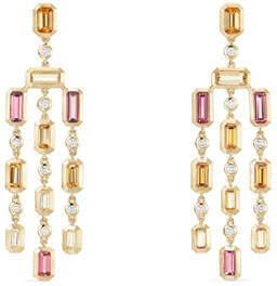 David Yurman Novella 18k Statement Dangle Earrings in Garnet & Tourmaline
