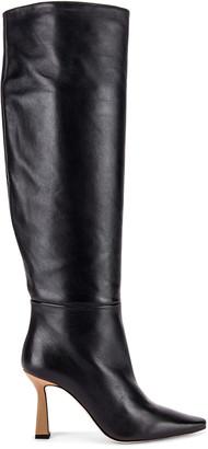 Wandler Lina Long Boots in Black & Khaki | FWRD