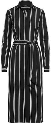 Lauren Ralph Lauren Ralph Lauren Striped Belted Crepe Shirtdress