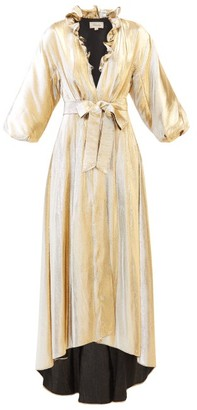 Temperley London Moon Garden Ruffled V-neck Lame Coat - Womens - Gold