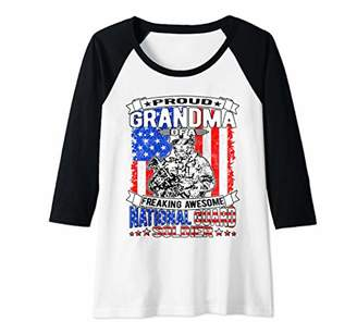 Womens Proud Grandma of A National Guard Soldier   Army Grandmother Raglan Baseball Tee