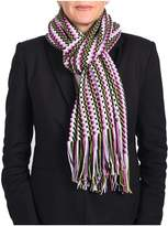 Missoni Women's Classic Zig Zag Knit Scarf Green, Pink And Multi-colors.