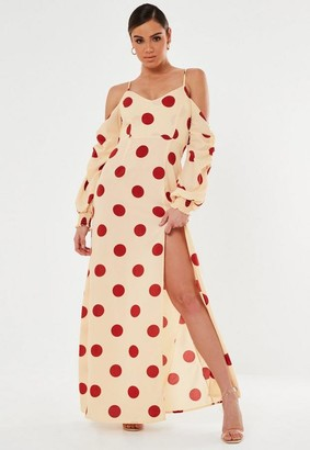 Missguided Rust Polka Dot Cold Shoulder Maxi Dress