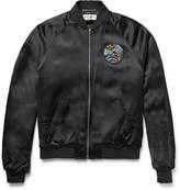 Saint Laurent Slim-Fit Appliquéd Satin Bomber Jacket