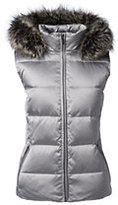 Classic Women's Hooded Down Vest-Ivory Colorblock