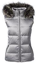 Lands' End Women's Plus Size Hooded Down Vest-Light Silver Metallic