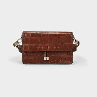 CHYLAK Glossy Caramel Crocodile Shoulder Bag