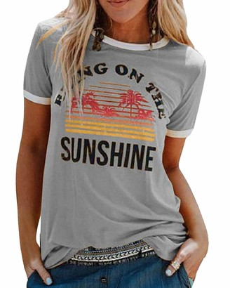Yuson Girl Women Summer Sunshine Letter Print T Shirt Rainbow Graphic Tee Shirts Basic Round Neck Short Sleeve Vintage Shirts Crew O Neck Tank Tops Loose Casual Slim Fit Shirts Tops