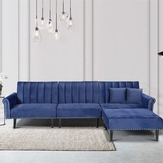 """Everly Quinn Kalessa 118"""" Wide Right Hand Facing Sofa & Chaise Fabric: Navy Blue Microfiber/Microsuede"""