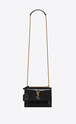 Saint Laurent Sunset Sunset Small In Patent Leather Black Onesize