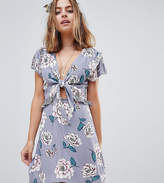 Sisters of the Tribe Sisters Of The Tribe Petite Tie Front Tea Dress With Contrast Frill In Floral
