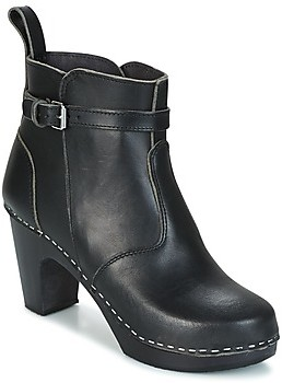 Swedish Hasbeens HIGH HEELED JODHPUR women's Low Ankle Boots in Black