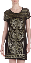 Neiman Marcus Sequin-Embellished Shift Dress, Onyx