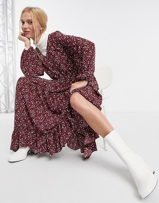 Glamorous maxi wrap smock dress in maroon ditsy floral