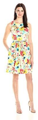 Sandra Darren Women's 1 Pc Sleeveless Floral Printed Cotton Sateen Dress