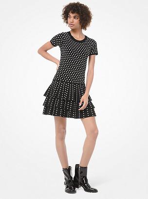 MICHAEL Michael Kors MK Dot Viscose-Blend Ruffled T-Shirt Dress - Black/bone - Michael Kors