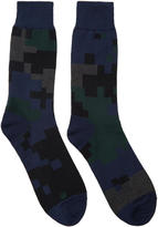 Sacai Black and Navy Camouflage Socks