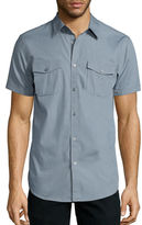 Jf J.Ferrar JF Short-Sleeve Triple Needle Woven Button-Front Shirt
