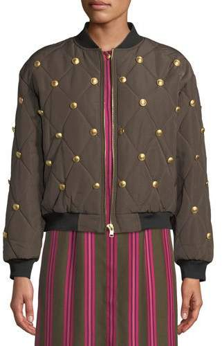 Escada Sport Zip-Front Quilted Bomber Jacket w/ Golden Buttons