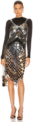Paco Rabanne Sparkle Metallic Midi Dress in Black, Light Gold & Silver | FWRD