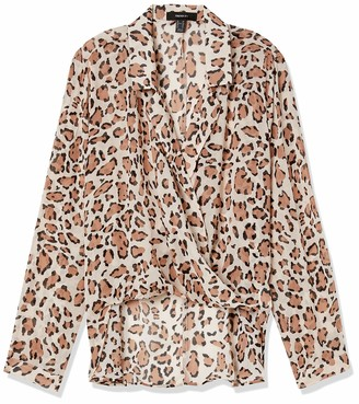 Forever 21 Women's Plus Size Sheer Leopard Surplice Top