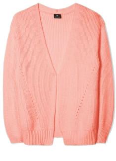 Paul Smith Pink Rib Knit Cotton Blend Cardigan - large