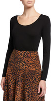 Lafayette 148 New York Scoop-Neck Fine Gauge Merino Wool Rib Sweater