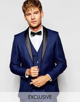 Selected Exclusive Tuxedo Suit Jacket with Shawl Lapel in Skinny Fit