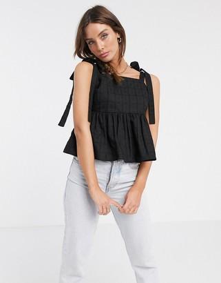 ASOS DESIGN square neck sun top with tie straps in textured grid in black