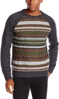 Haggar Men's Stripe Raglan Sleeve Crew Neck Sweater
