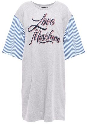 Love Moschino Striped Poplin-paneled Embroidered French Cotton-terry Mini Dress