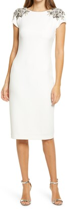 Badgley Mischka Beaded Shoulder Sheath Cocktail Dress