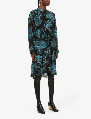 Givenchy Floral and schematics-print silk-crepe midi dress
