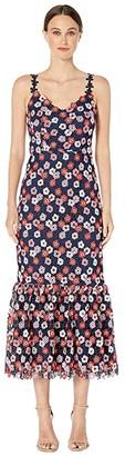 ML Monique Lhuillier Lace Spaghetti Strap Dress with Ruffled Skirt Bottoms Detail (Navy Multi) Women's Dress