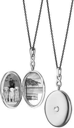"Monica Rich Kosann Silver Rose-Cut White Sapphire Locket Necklace, 30"""