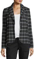 Derek Lam 10 Crosby Grid-Print Two-Button Blazer w/ Elbow Patches