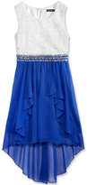 Sequin Hearts Embellished-Waist High-Low Party Dress, Big Girls (7-16)