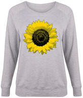 Athletic Heather Large Sunflower Slouchy Pullover - Plus