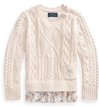 Ralph Lauren Floral-Hem Aran-Knit Jumper