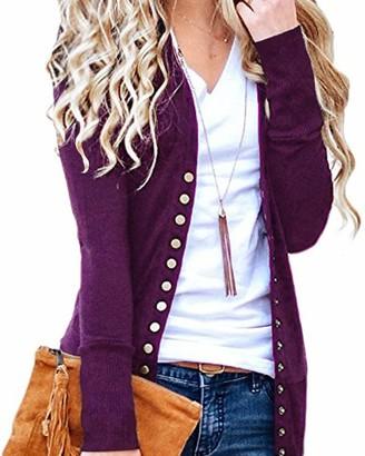 CNFIO Women Long Sleeve Cardigans Lightweight Open Front Knit Sweater Cardigan D-Claret 2X-Large/UK 18