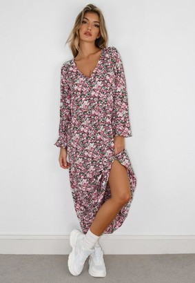 Missguided Pink Floral Print Balloon Sleeve Midi Smock Dress
