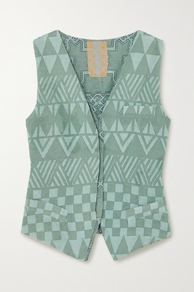 Yvonne S Printed Linen Vest - Green