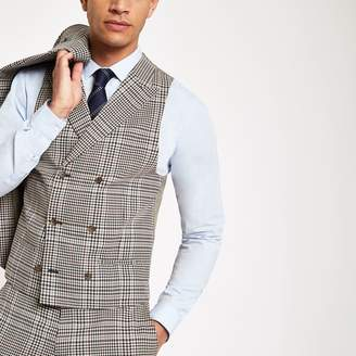 River Island Mens Brown heritage check suit waistcoat
