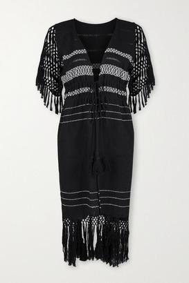 JALINE Net Sustain Susana Fringed Macrame-trimmed Cotton-gauze Robe - Black