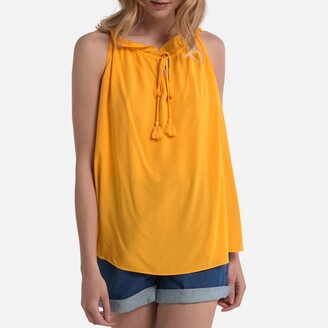 La Redoute Collections Ruffled Shoestring Strap Blouse with Tassel