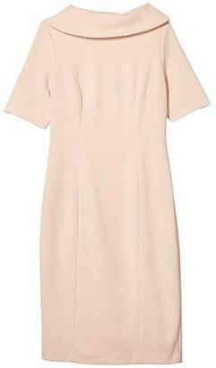 Adrianna Papell Roll Neck Sheath Collar Dress w/ V-Back (Blush) Women's Dress
